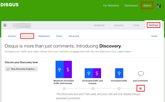 Disqus Discovery Deactivation